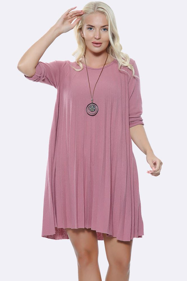 Italian Plain Pleated Necklace Dress