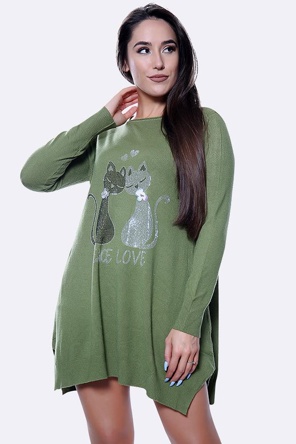 Soft Knit Diamante Twin Cat Pattern Long Jumper