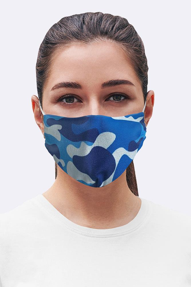 Blue Camouflage Print Cotton Face Masks Cover