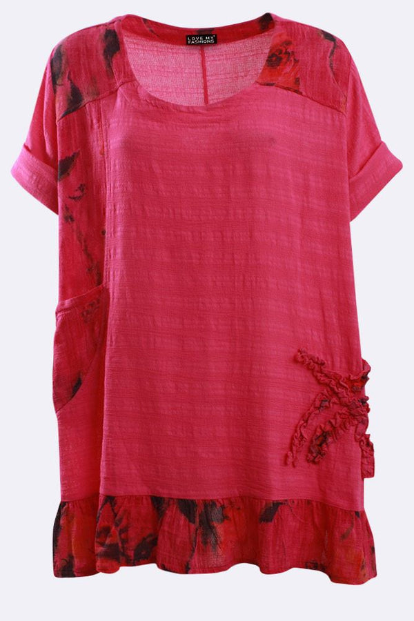 Italian Cotton Textured Applique Floral Ruffle Hem Top