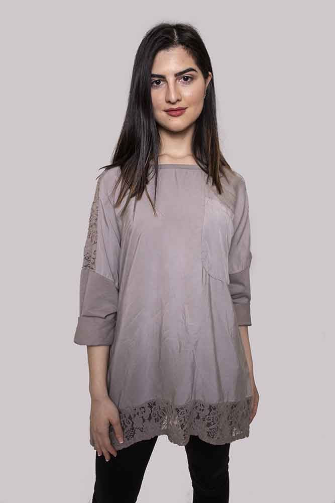 Wholesale Lace Panel Front Pocket Top