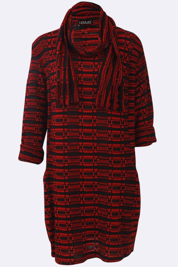 Stripes Textured Scarf Pocket Dress