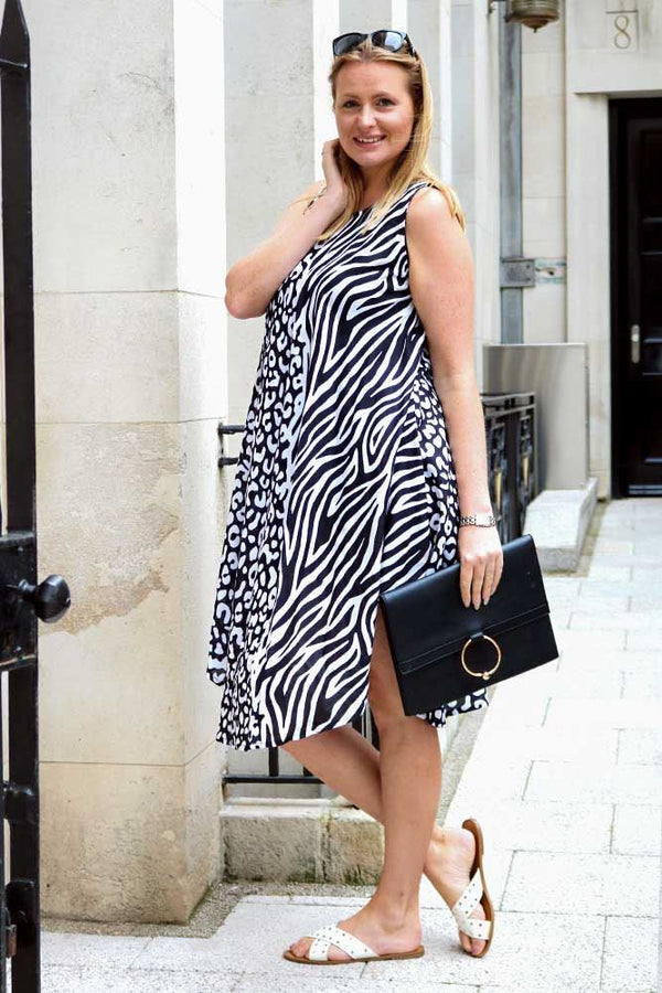 Mono Leopard Zebra Print Midi Dress