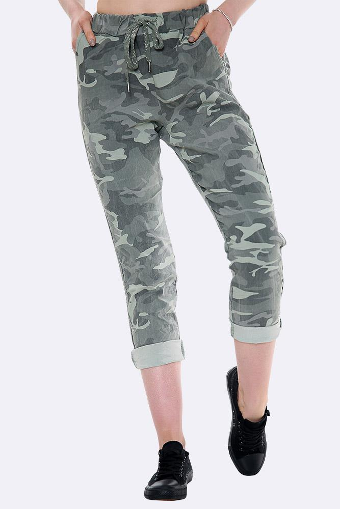 Lurex Side Tape Camo Print Trousers