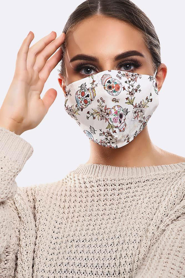 Floral White Skull Print Cotton Face Masks Cover
