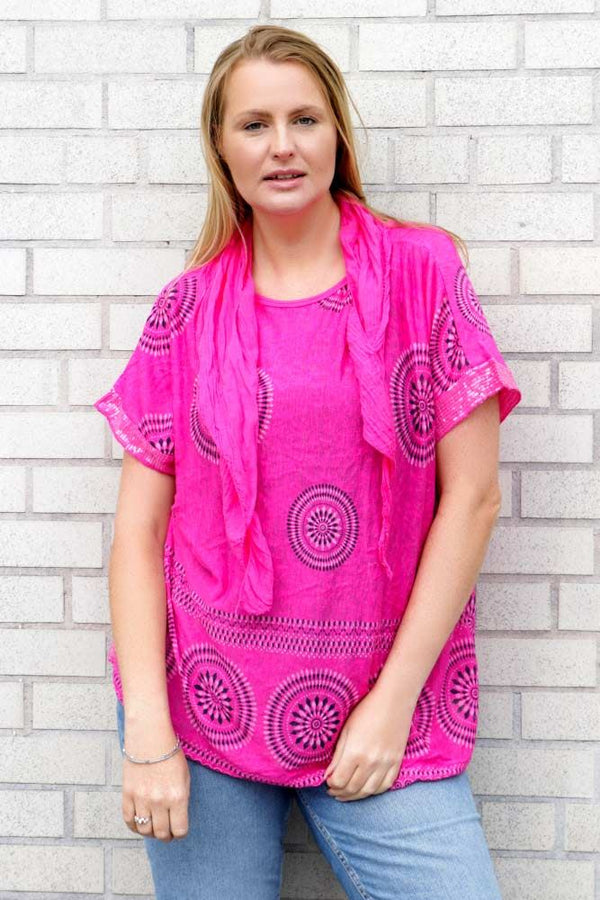 Circle Geometric Tribal Sequin Hem Scarf Top