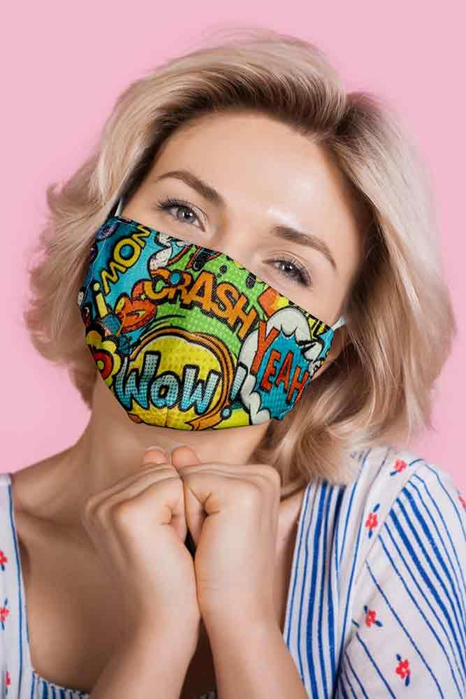 Comic Text Print Face Mask Cover
