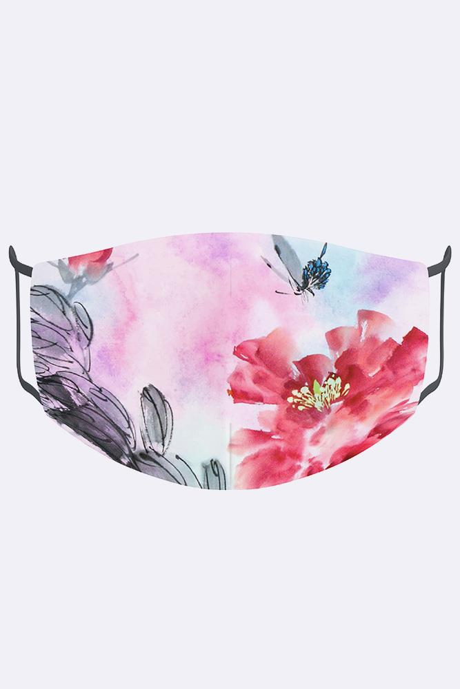 Unisex Abstract Drawn Floral Print Digital 2 Ply Cotton Face Mask Cover