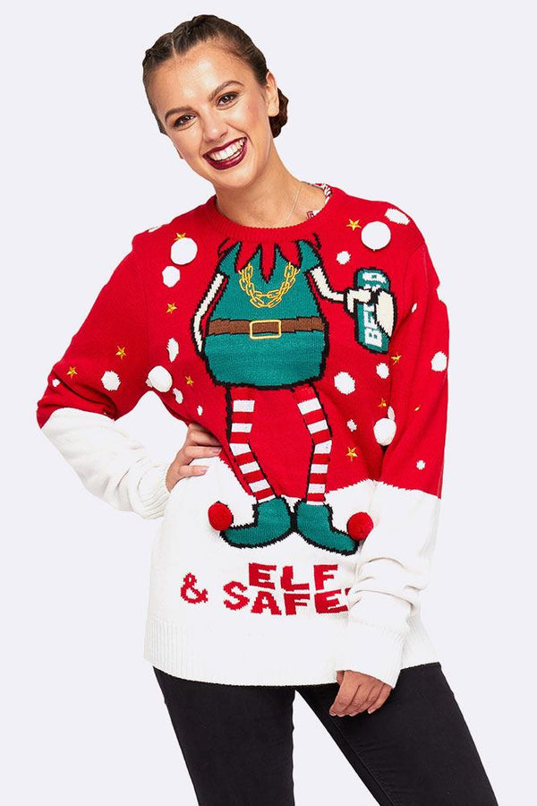 Wholesale Mens Elf  Safety 3d Graphic Trims Jumper