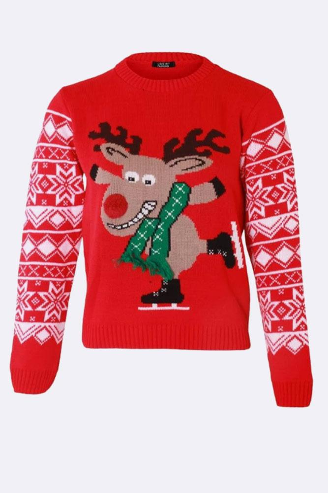 Wholesale Kids Knitted Reindeer Skating Christmas Jumper