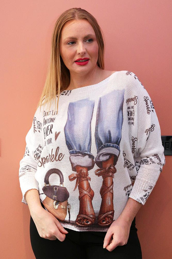 Dont Let Anyone Dull Your Sparkle Slogan Print Baggy Jumper