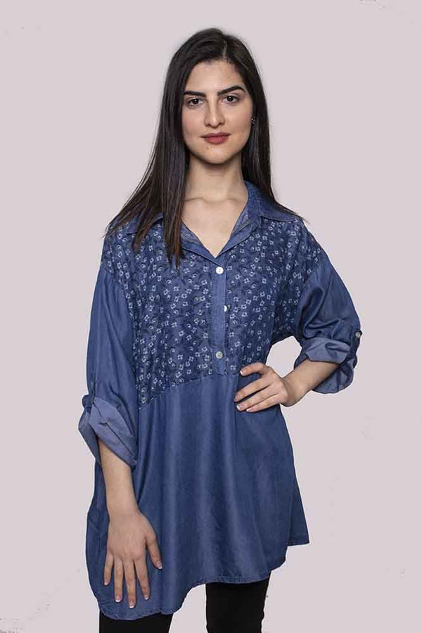 Wholesale Floral Denim Cotton Top