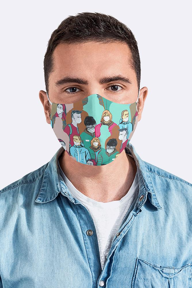 Covid-19 Awareness Print Fashion Face Mask Cover