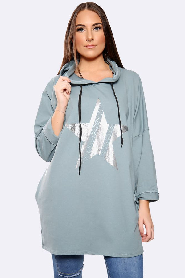 Italian Foil Star Print Hooded Top