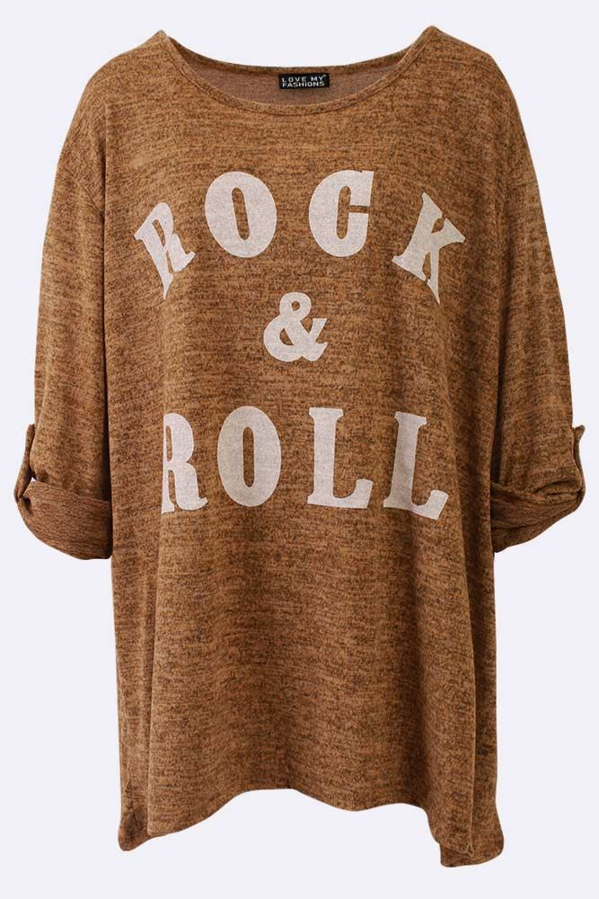 Rock  Roll Print Slub Top