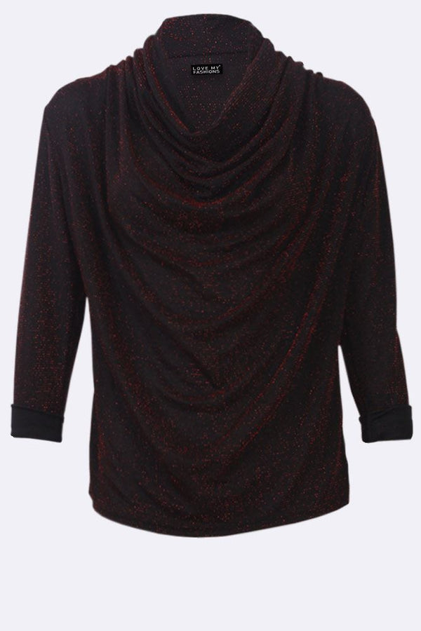 Lurex Textured Cowl Neck Long Sleeve Top