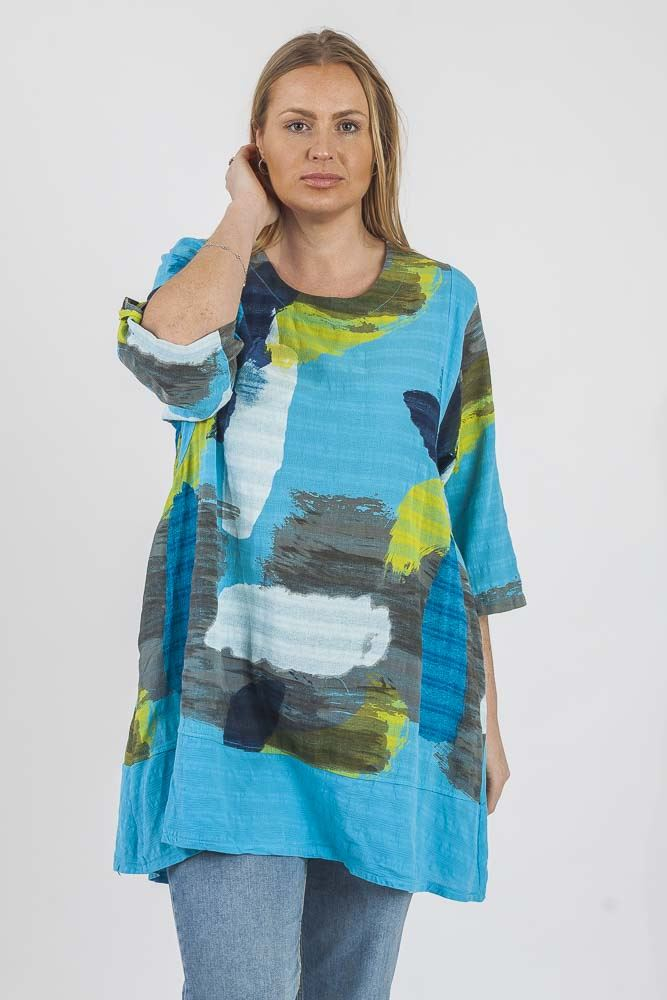 Abstract Paint Contrast Hem Top