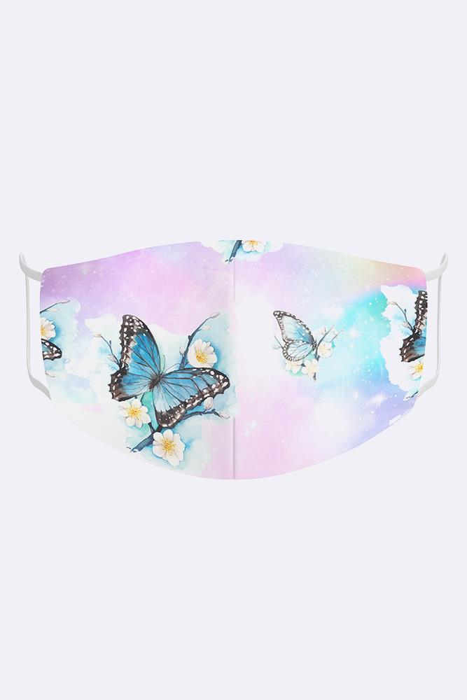 Kids Butterflies Floral 2 Ply Digital Print Cotton Face Mask Cover