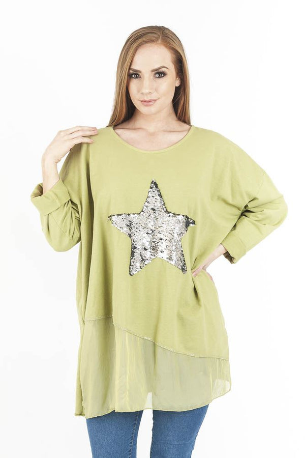 Chiffon Sequin Star Panel Top