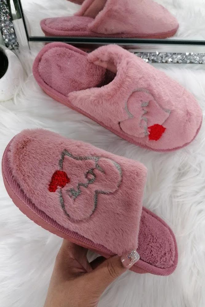 Women Fluffy Love Slippers
