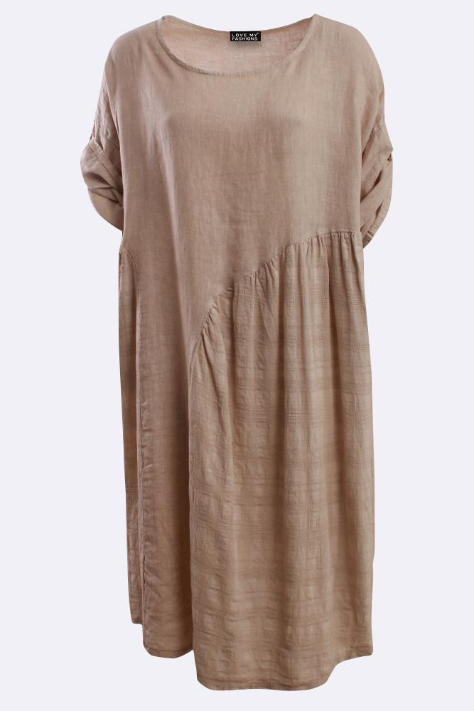 Italian Linen Oversized Textured Panel Dress