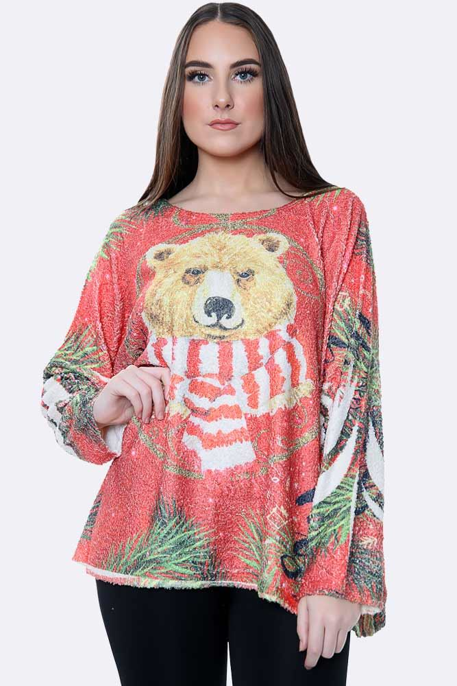 Italian Fluffy Xmas Polar Bear With Scarf Print Top