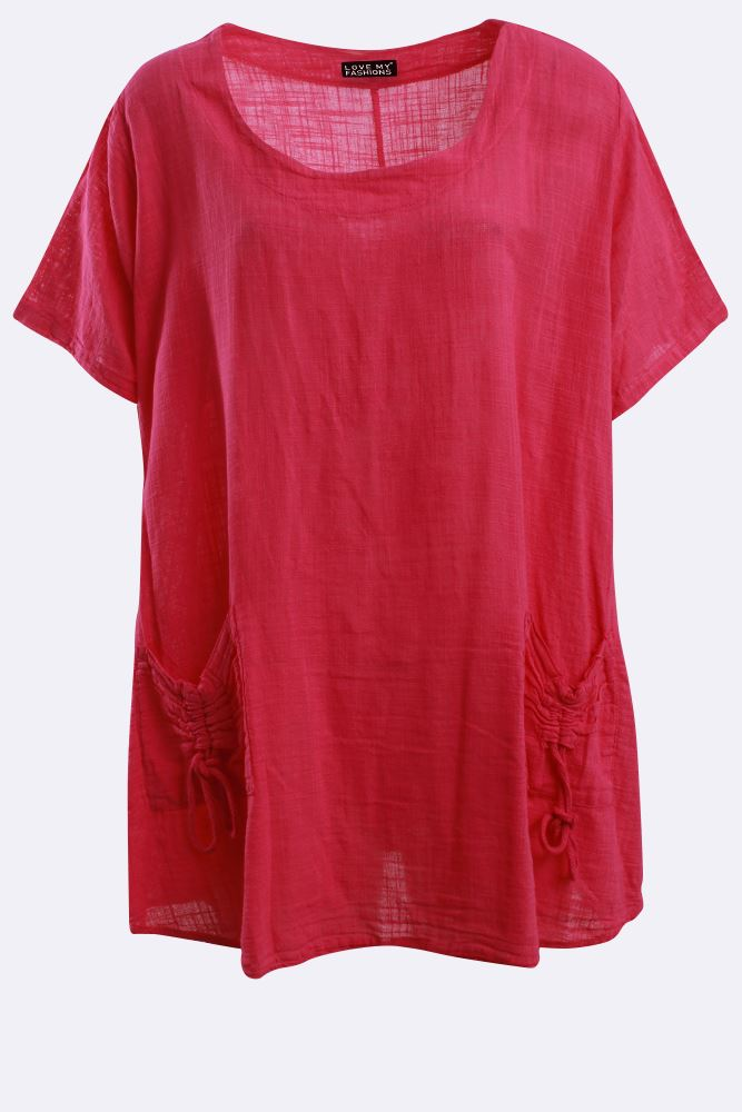 Italian Cotton Plain Short Sleeve Drawstring Pocket Top