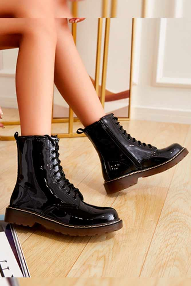 Glossy Plain Black Laces Ankle Zip Boots