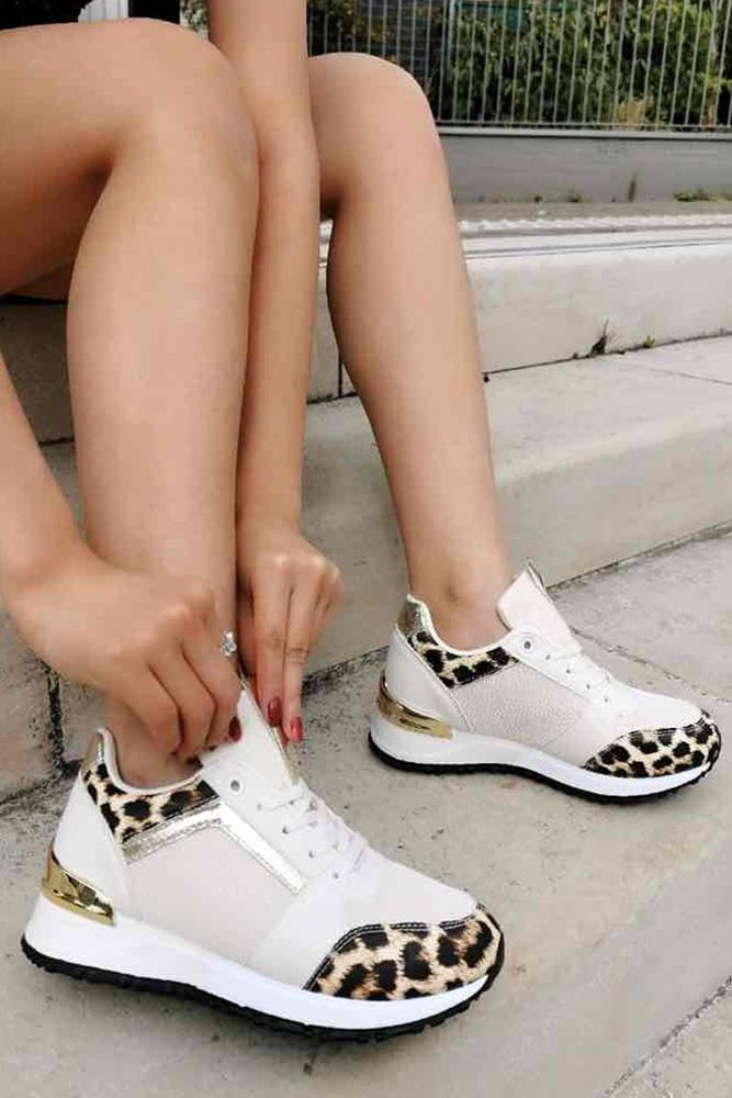 Leopard Panelled Metallic Detail Trainers