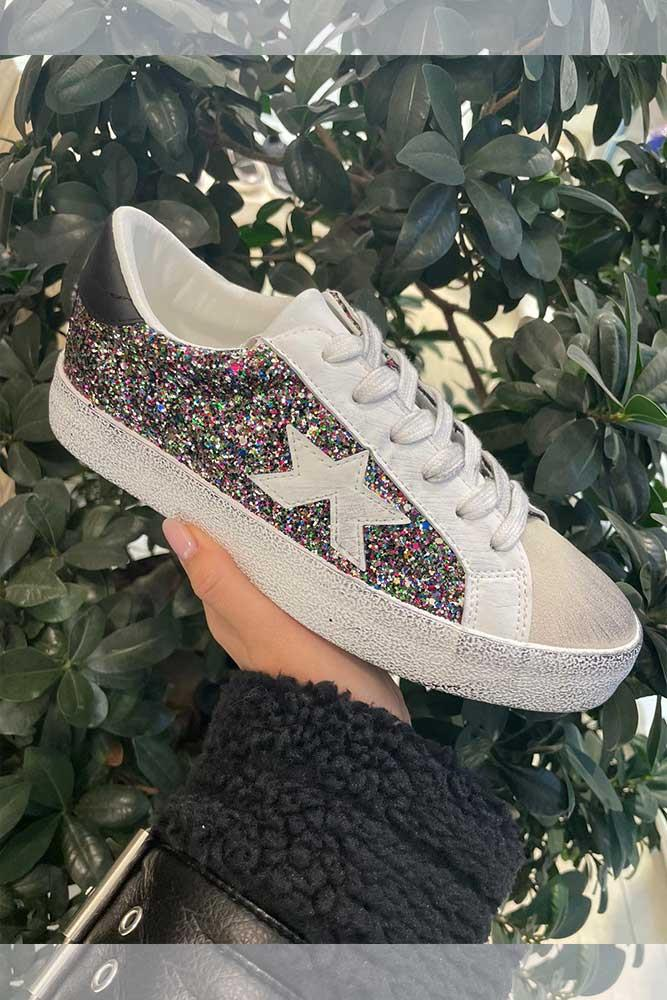 Women Glitter Split Star Trainers