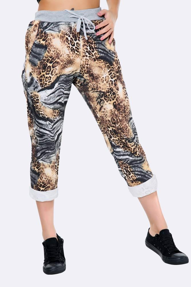 Italian Wild Print Full Length Trousers