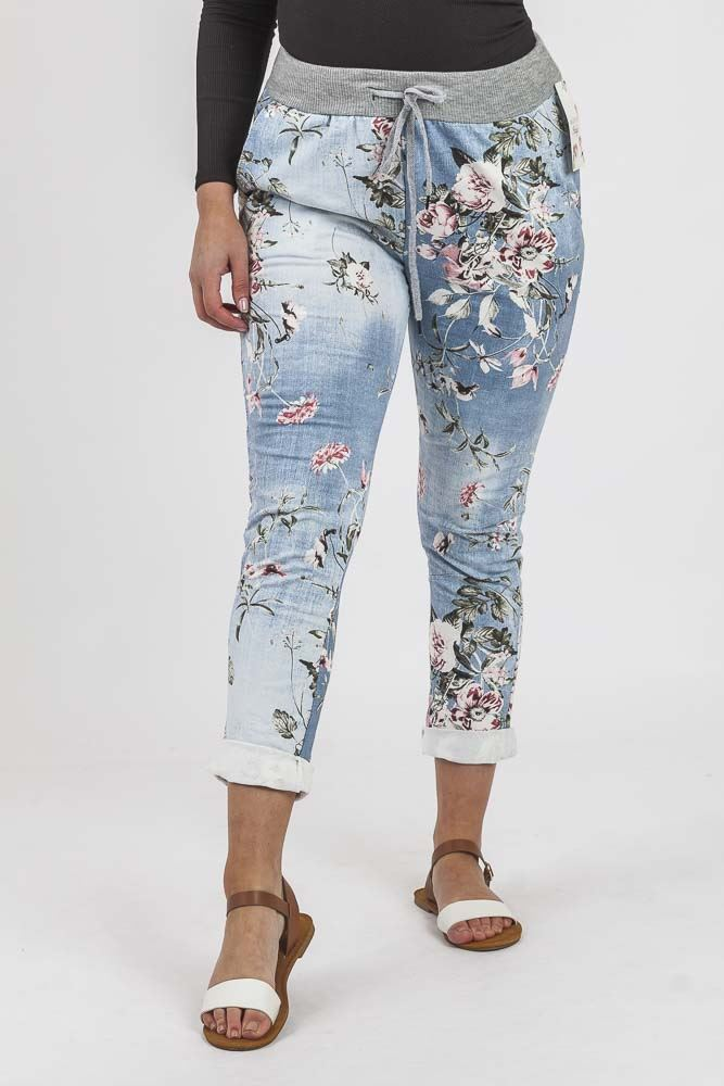Cotton Floral Print Pocket Drawstring Trouser