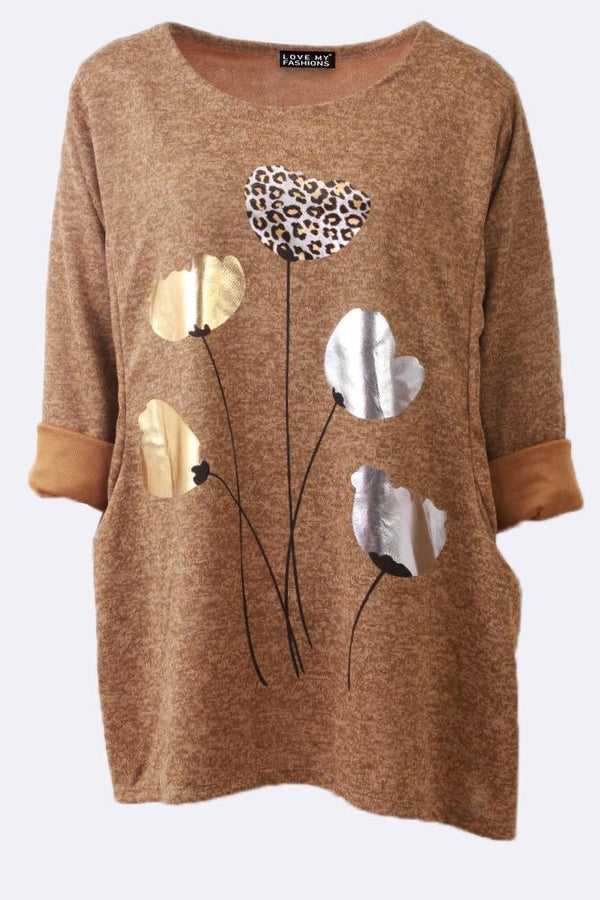 Metallic Silver Gold Flower Leopard Top