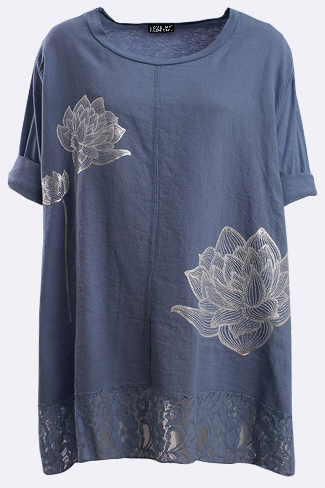 Italian Cotton Flower Foil Print Lace Hem Top