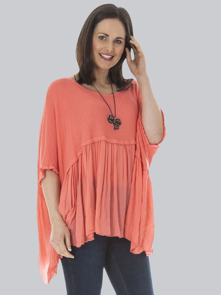Wholesale Layered Batwing Smock Top
