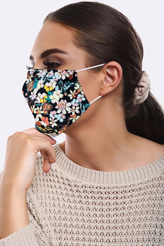 Floral Black Print Cotton Face Masks