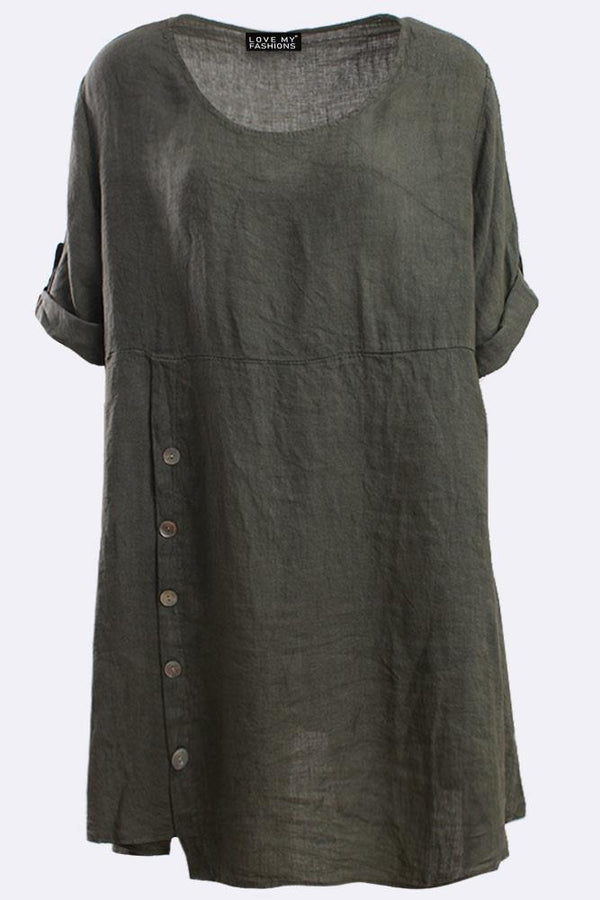 Italian Linen Oversized Button Detail Top