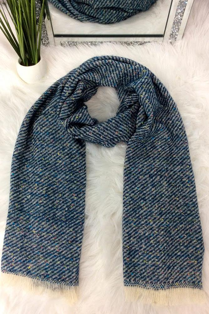 Knitted Stripes Frayed Scarves