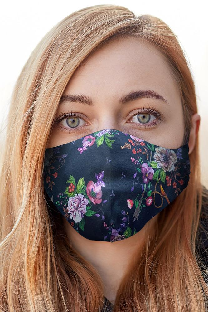 Black Blossom Print Fashion Face Mask Cover