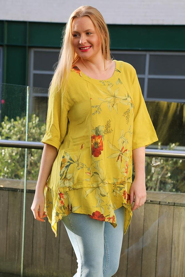Italian Cotton Plus Size Flower Print Top
