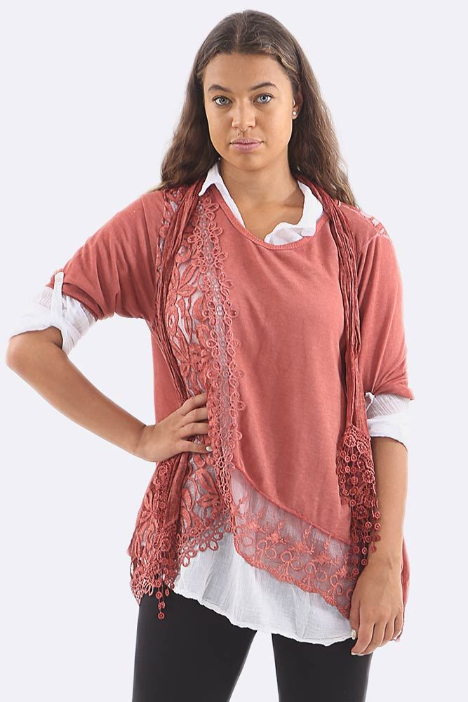 Lace 3 Pcs Layered Scarf Shirt Top