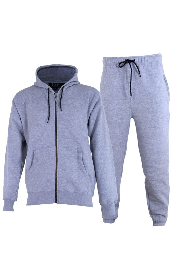 Wholesale Mens Plain Ribbed Panel Fleece Tracksuit (Pack Of 6)
