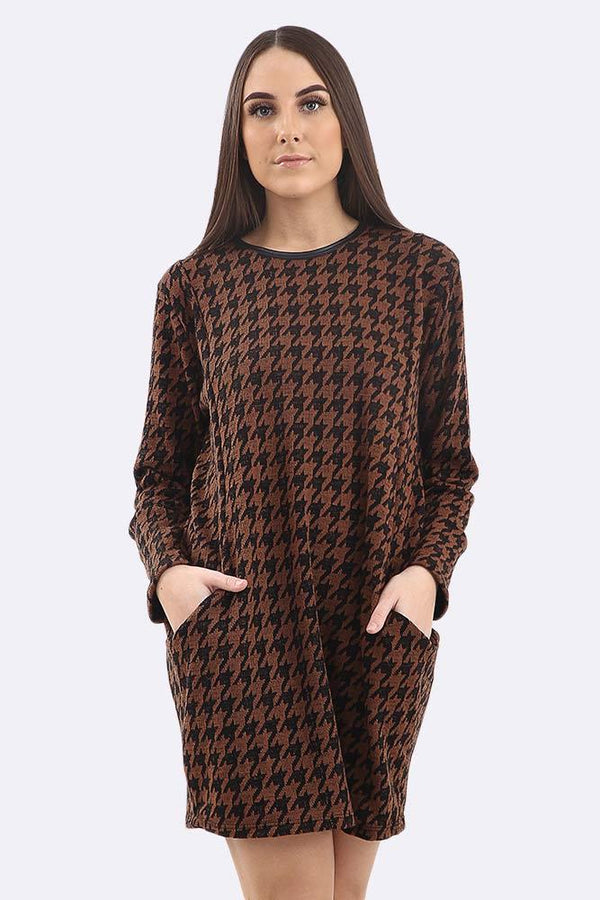 Dogtooth Print Long Sleeve Lagenlook Tunic Top