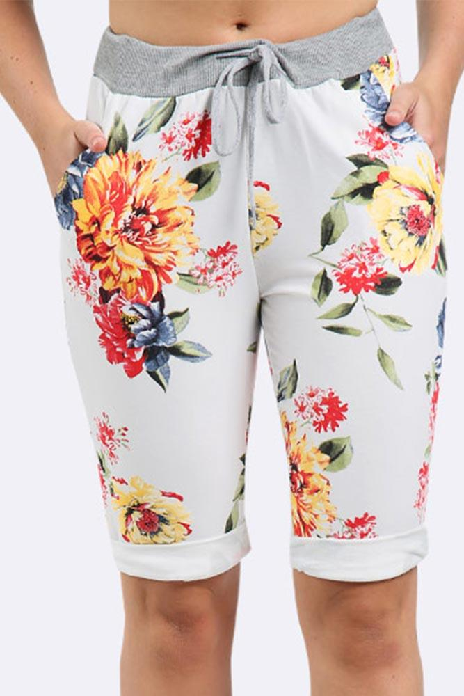 Flower Printed 3/4 Drawstring Trouser