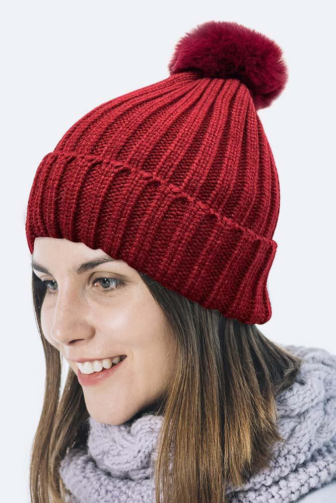 Chunky Rib Knit Pom Beanie With Fleece Lining