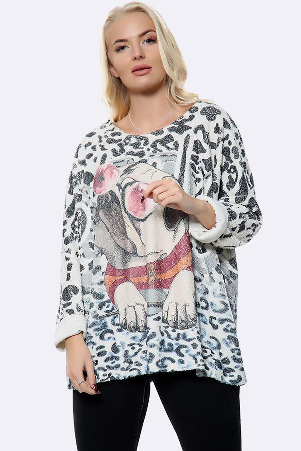 Italian Cool Pug With Glasses Christmas Print  Boxy Top