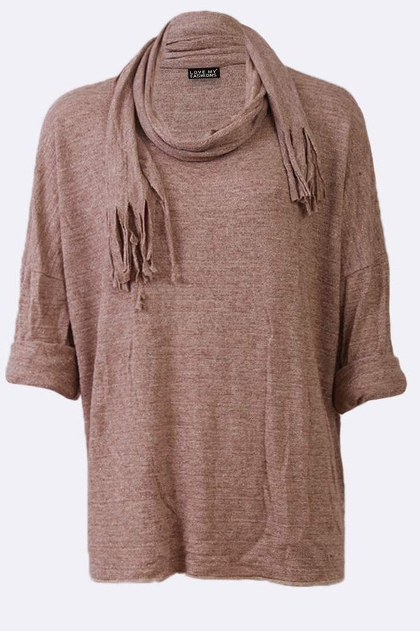 Basic Plain Long Sleeve Crew Neck Scarf Top