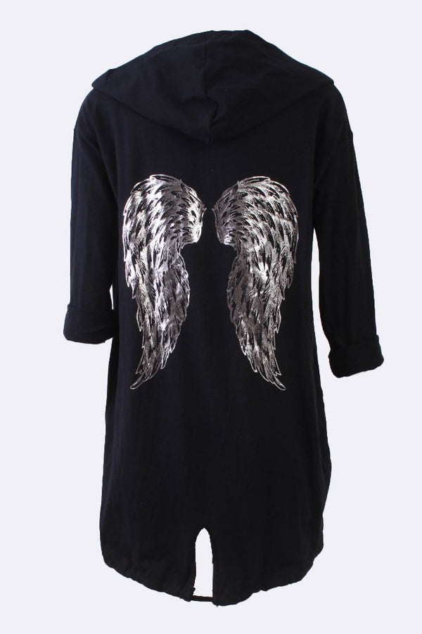 Foil Angel Wings Drawstring Cardigan