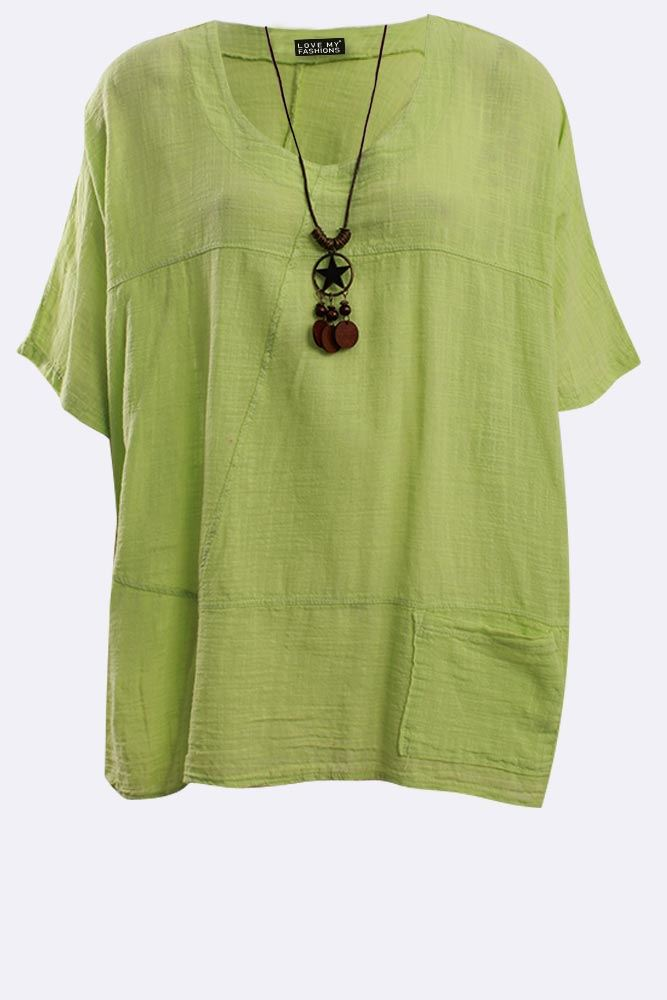 Italian Cotton Plain Panel Necklace Top