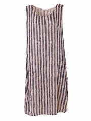 Wholesale Striped Side Pockets Sleeveless Dress